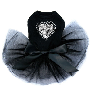Sequin Silver Heart black dog tutu for large and small dogs.