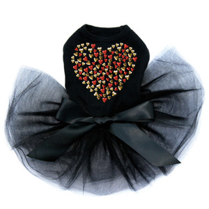 Red & Gold Nailhead Hearts black dog tutu for large and small dogs.