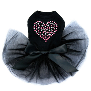Pink Nailhead Hearts black dog tutu for large and small dogs.