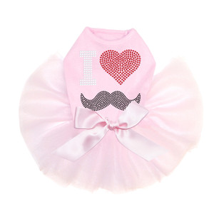 I Love Mustache pink dog tutu for large and small dogs.