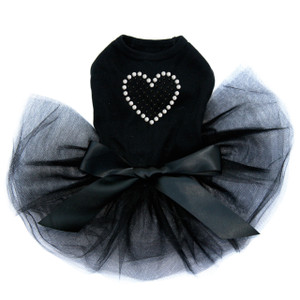 Black Rhinestone Heart black dog tutu for large and small dogs.