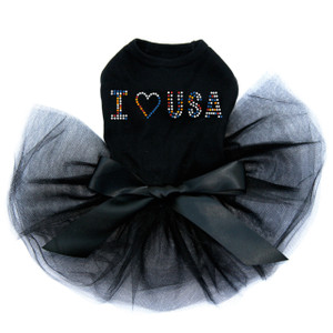 I Love USA - Multicolor Rhinestones black dog tutu for large and small dogs.