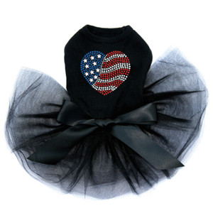 Patriotic Heart # 2 black dog tutu for large and small dogs.