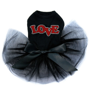 Red Glitter Love black dog tutu for large and small dogs.
