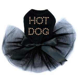 Hot Dog rhinestone dog tutu for large and small dogs.