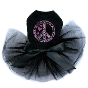 Peace Sign (Pink & Zebra Print) Tutu