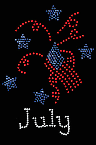 "July Rhinestone dog tutu for large and small dogs. 4.5"" X 6"" design with red, blue, gold, & clear rhinestones."