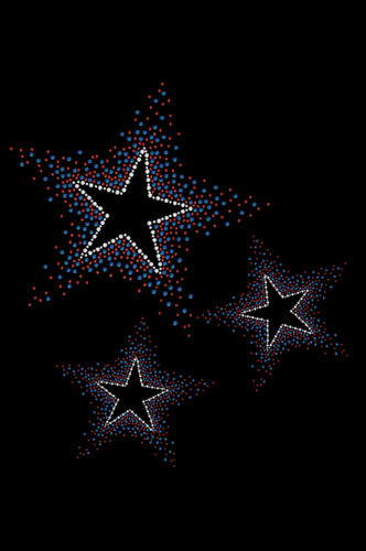 "Three Stars - Red & Blue dog tutu for large and small dogs. 7"" X 8"" design with red, blue & clear rhinestones."