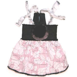 This adorable dress features a black denim bodice with a black and pink tulle flower.  The skirt is made of laser cut cotton with a pink tulle petticoat.  Dress coordinates with the Aubrey coat and black denim leash.