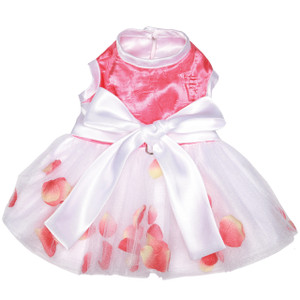 Coral rose petals scattered in layers of shimmery tulle make this special occassion dress the perfect choice.  The bodice is made of crinkled coral satin with a white satin bow.  Fully lined with adjustable button closure and D-ring for leash attachment.  Made in the USA.
