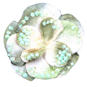 Green velvet flower pin with iridescent sequins and beads.