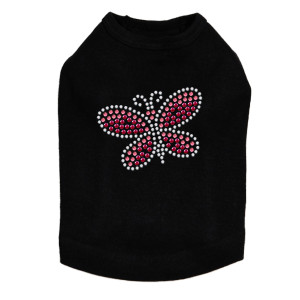 Pink Swarovski Rhinestone & Rhinestud Butterfly dog tank for small and large dogs.