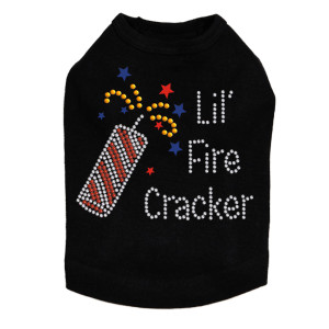 Lil' Firecracker rhinestone dog tank for large and small dogs.
