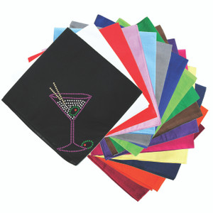 Martini (Fuchsia with Clear Rhinestones) - Bandanna