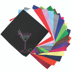 Martini (Fuchsia with Blue Rhinestones) - Bandanna