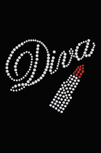 Diva with Swarovski Red Lipstick - Women's T-shirt
