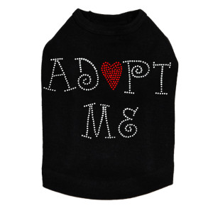 "Adopt Me with Heart dog tank for large and small dogs. 8"" X 5"" with silver & red rhinestuds & rhinestones."