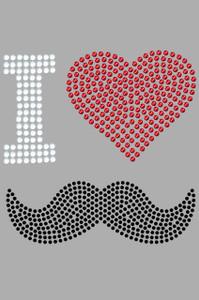 I Love Mustache Heart Adult T-shirt or Tank.