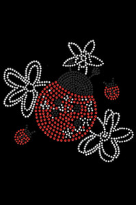 Large Lady Bug with Flowers - Women's T-shirt