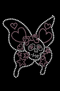 """5"""" X 6"""" design with clear & pink rhinestones."""