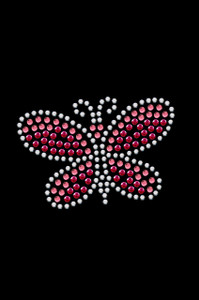 "2.5"" X 1.75"" design with pink & silver swarovski rhinestones & rhinestuds."