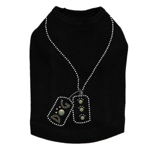 Dog Tag Necklace #1 rhinestone dog tank for large and small dogs.