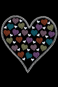 Heart with Multicolor Rhinestud Hearts Adult T-shirt or Tank.