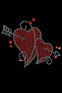 Red Rhinestone Hearts with Arrow Adult T-shirt or Tank.