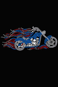 Motorcycle - Large Red, White, & Blue with Flames  - Women's T-shirt