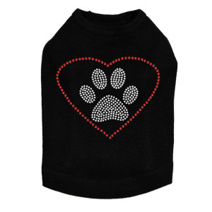 Heart with Paw Rhinestone dog tank for large and small dogs.