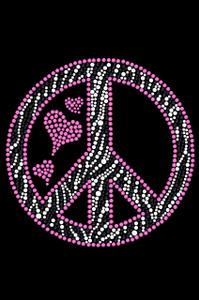 Peace Sign (Pink & Zebra Print) - Women's T-shirt