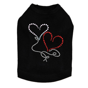 Floating Hearts Rhinestone dog tank for large and small dogs.
