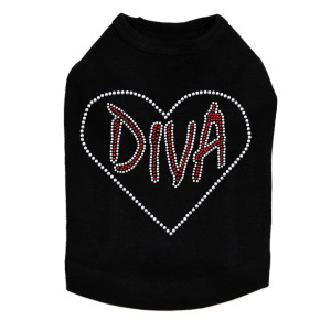 "Diva Heart Rhinestone dog tank for large and small dogs. 6"" X 5"" design with red & clear rhinestones."