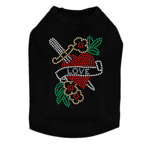 Tattoo Heart with Sword rhinestone dog tank for large and small dogs.