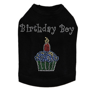 Birthday Boy rhinestone dog tank for large and small dogs.