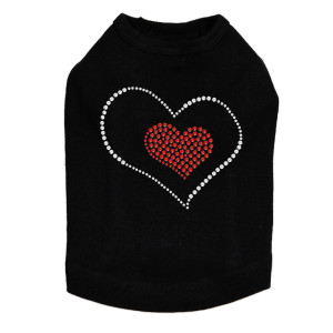 Red Heart inside Heart rhinestone dog tank for large and small dogs.