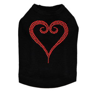 Red Rhinestone Heart dog tank for large and small dogs.
