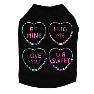 Candy Conversation Hearts Rhinestone dog tank for large and small dogs.