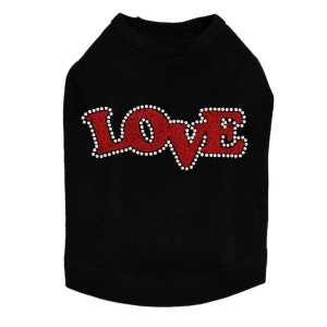 "Love - Red Glitter Rhinestone dog tank for large and small dogs. 1.5"" X 4"" design with red glitter & clear rhinestones."
