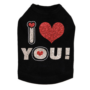 I Love You #2 Rhinestone dog tank for large and small dogs.