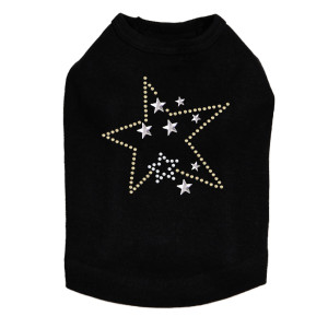 Gold & Silver Stars dog tank for large and small dogs.