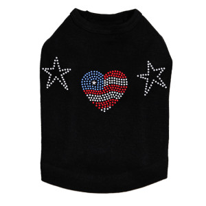 Patriotic Heart # 1 dog tank for large and small dogs.