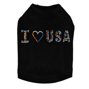 I Love USA - Multicolor Rhinestones dog tank for large and small dogs.
