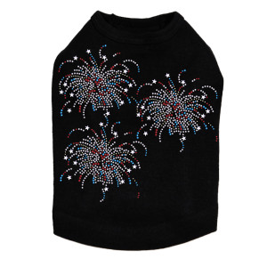 Fireworks - Cluster of Three rhinestone dog tank for large and small dogs.