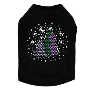 Purple & Green Christmas Trees with Swarovski Snowflakes Dog Tank