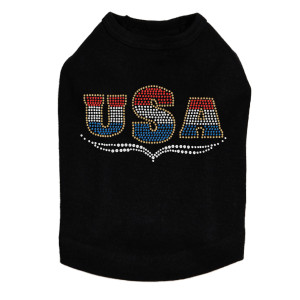 USA - Tricolor rhinestone dog tank for large and small dogs.