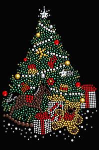 Christmas Tree #2 with Teddy Bear - Black Women's T-shirt