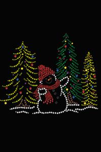 Snowman in Trees - Black Women's T-shirt