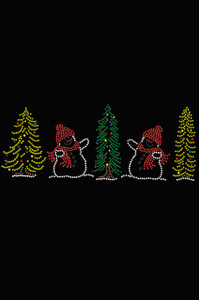 Two Snowmen in Trees - Black Women's T-shirt