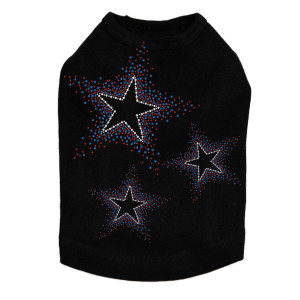 Three Stars - Red & Blue rhinestone dog tank for large and small dogs.